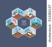isometric office vector... | Shutterstock .eps vector #513383137