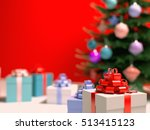 real christmas tree with gifts... | Shutterstock . vector #513415123