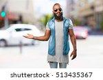 black man holding gesture | Shutterstock . vector #513435367