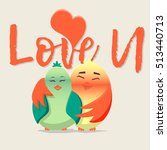 """illustration """"love u"""" with two... 