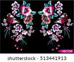 Stock vector embroidery ethnic flowers neck line flower design graphics fashion wearing 513441913