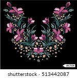 embroidery ethnic flowers neck... | Shutterstock .eps vector #513442087