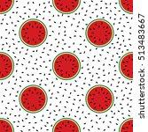 seamless pattern of cut ripe... | Shutterstock .eps vector #513483667