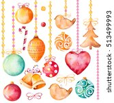 watercolor collection of 19... | Shutterstock . vector #513499993
