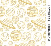 cartoon solar system pattern.... | Shutterstock .eps vector #513501277