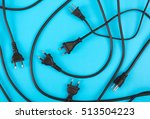 messy of electrical cords plug... | Shutterstock . vector #513504223