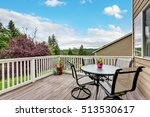 wooden walkout deck with white... | Shutterstock . vector #513530617
