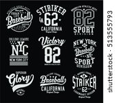 set of vintage varsity badges... | Shutterstock .eps vector #513555793