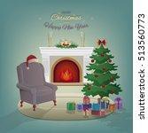 merry christmas home interior... | Shutterstock .eps vector #513560773