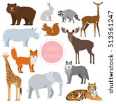 set of wild animals giraffe ... | Shutterstock .eps vector #513561247