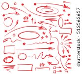 set of hand drawn arrows and... | Shutterstock .eps vector #513562657