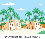 oasis. desert village in the... | Shutterstock .eps vector #513570643