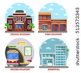 fire station and hospital... | Shutterstock .eps vector #513573343