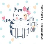 cute cat  design.t shirt... | Shutterstock .eps vector #513590353