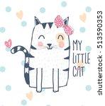 Stock vector cute cat design t shirt graphics for kids vector illustration 513590353
