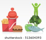 fast food vs healthy food | Shutterstock .eps vector #513604393