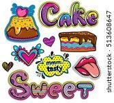 sketch comics set of stickers... | Shutterstock .eps vector #513608647
