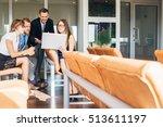 businesspeople with digital... | Shutterstock . vector #513611197