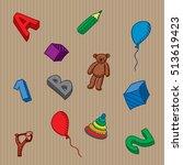 preschool kids toys and... | Shutterstock .eps vector #513619423