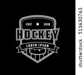 hockey emblem line icon on... | Shutterstock .eps vector #513630763