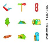 vacation in forest icons set.... | Shutterstock .eps vector #513643507