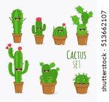 funny cactus set. vector...   Shutterstock .eps vector #513662107