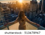 rich woman enjoying the sunset... | Shutterstock . vector #513678967