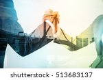 double exposure of two business ... | Shutterstock . vector #513683137