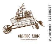 garden cart  wheelbarrow or... | Shutterstock .eps vector #513688357