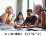 multiethnic young people... | Shutterstock . vector #513707497