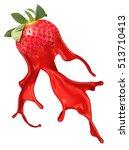 red strawberry with pait splash ...   Shutterstock . vector #513710413