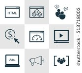 set of seo icons on digital... | Shutterstock .eps vector #513718003