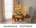 decorated christmas tree with... | Shutterstock . vector #513742663