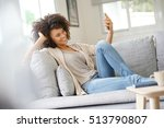 woman relaxing in sofa and... | Shutterstock . vector #513790807