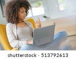 beautiful mixed race woman... | Shutterstock . vector #513792613