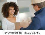 mixed race woman receiving... | Shutterstock . vector #513793753