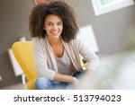 attractive mixed race woman... | Shutterstock . vector #513794023