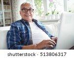 portrait of senior man using... | Shutterstock . vector #513806317