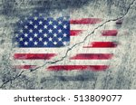 american flag painted on a wall ... | Shutterstock . vector #513809077