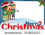 multicultural kids wearing xmas ... | Shutterstock .eps vector #513821017