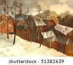 Winter City Landscape  Paintin...