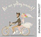 wedding couple on bicycle   Shutterstock .eps vector #513864157
