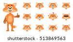 set of cartoon fox emoticons ... | Shutterstock .eps vector #513869563