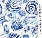 seashells hand drawn vector... | Shutterstock .eps vector #513883273