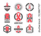 world aids and cancer day label ... | Shutterstock .eps vector #513887707