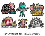 set of cinema labels and logos. ... | Shutterstock . vector #513889093