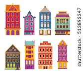cute bright cartoon flat house...   Shutterstock .eps vector #513893347