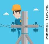 caucasian electrician in hard...   Shutterstock .eps vector #513926983