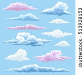 white blue and pink clouds... | Shutterstock .eps vector #513928153