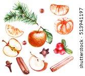 watercolor christmas set of... | Shutterstock . vector #513941197